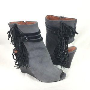 REBECCA MINKOFF | gray black fringe bootie wedge